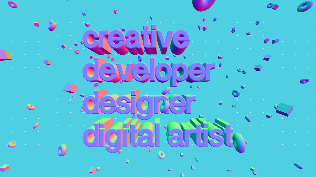 3D render of typography (creative developer, designer, digital artist) with floating cubes and donuts